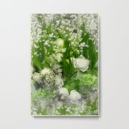 Floral Art In Green And White Metal Print