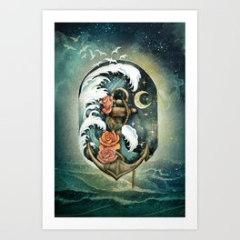 Navigate waves and stars Art Print
