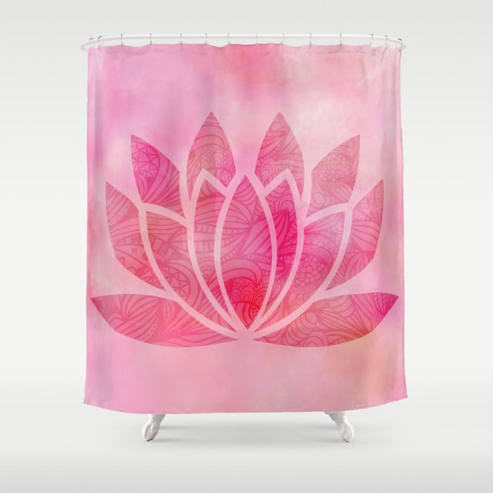 Zen Watercolor Lotus Flower Yoga Symbol Shower Curtain By Ruthart