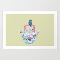 Bluebird and Teapot Art Print