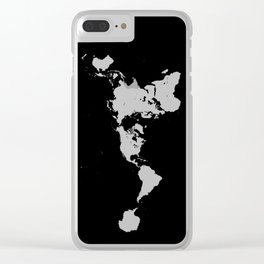Dymaxion World Map (Fuller Projection Map) - Minimalist White on Black Clear iPhone Case