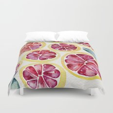 Sliced Grapefruits Watercolor Duvet Cover