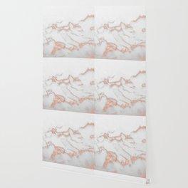 Rose Gold White Marble VII Wallpaper