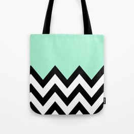 MINT GREEN COLORBLOCK CHEVRON Tote Bag