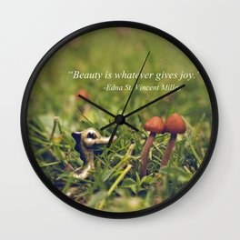 A Dragon, Two Mushrooms, and Edna St. Vincent Millay Wall Clock