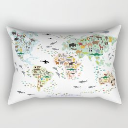 Cartoon animal world map for children, kids, Animals from all over the world, back to school, white Rectangular Pillow