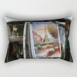 Bouquiniste with Eiffel tower art | Art Eiffeltower | Colourful Travel Photography | Seine, Paris Rectangular Pillow