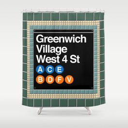 subway greenwich village sign Shower Curtain