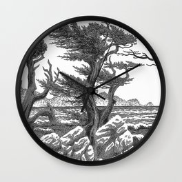 MONTEREY CYPRESS AND POINT LOBOS PEN DRAWING IN CROSSHATCH Wall Clock