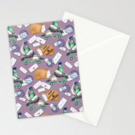 Pigeons Express (Mauve Background) Stationery Cards