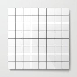 Minimal Grids Never Fail - Black on White Metal Print