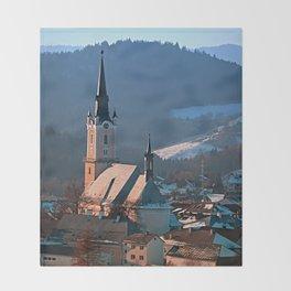 City church in winter wonderland | landscape photography Throw Blanket
