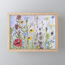 Wildflower Garden Watercolor Flower Illustration Framed Mini Art Print