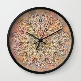 Watercolor Arabesque Mandala, Pastel Rainbow Bohemian Circle Kaleidoscope Wall Clock