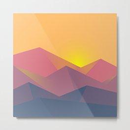Sunset Mountains Polygons Metal Print