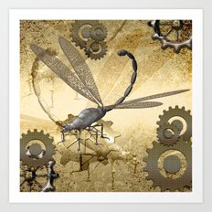 Steampunk, dragonflies Art Print
