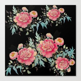 Gipsy paeonia in black Canvas Print