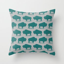 Buffalo Bison Pattern 266 Teal and Gray Throw Pillow