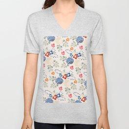 Beautiful Colorful Floral Motif Unisex V-Neck
