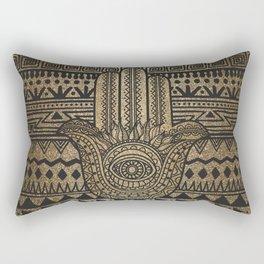 Native Pattern Golden Hamsa Hand Rectangular Pillow