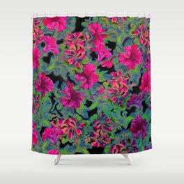 vivid pink petunia on black background Shower Curtain