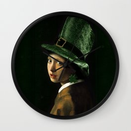 Girl With A Shamrock Earring Wall Clock