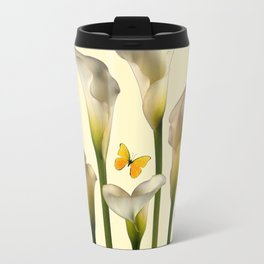Ivory Calla Lilies Yellow Butterflies Travel Mug