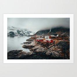Foggy Coastal Town Seascape Art Print