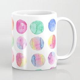 Artistic hand painted pink blue green watercolor brush strokes polka dots Coffee Mug