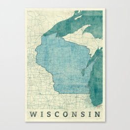 Wisconsin State Map Blue Vintage Canvas Print