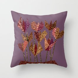 Flower profile bunch in vase Throw Pillow
