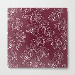 Retro . Orchid flowers on a red background . Metal Print