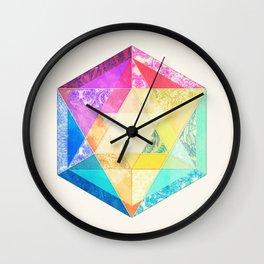 Retro Rainbow Patchwork Hexagon Wall Clock