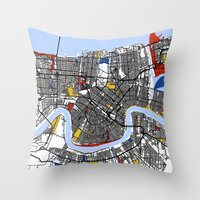 new orleans Throw Pillows featuring New Orleans by Mondrian Maps