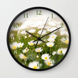 White herb camomiles clump Wall Clock