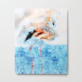 Flamingo in the river Metal Print