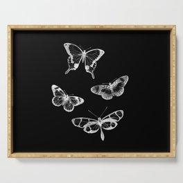 Vintage Butterflies Illustration on Black Background Serving Tray