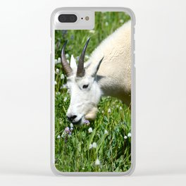 Mountain Goat Among Wildflowers Clear iPhone Case