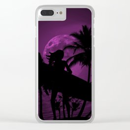 Purple Dusk with Surfergirl in Black Silhouette with Longboard Clear iPhone Case