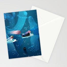 Mermaids racing in ocean kids' illustration Stationery Cards