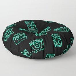 Cameras: Teal - pop art illustration Floor Pillow