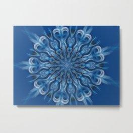 electric blue swirl mandala Metal Print