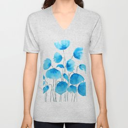 blue poppy field watercolor Unisex V-Neck