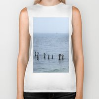 cape cod Biker Tanks featuring Gull's Perch, Cape Cod by JezRebelle