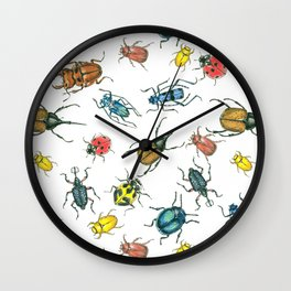 Beetles, watercolor and ink Wall Clock