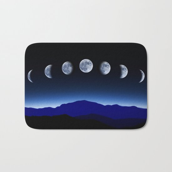 Moon Phases #blue Bath Mat