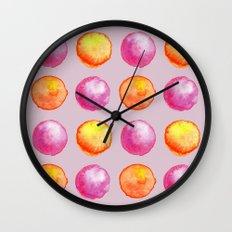 Juicy Watercolor Pink Pearls And Orange Fireballs Pattern Wall Clock
