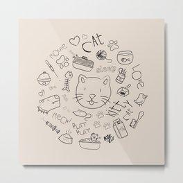 Doodle cat Metal Print