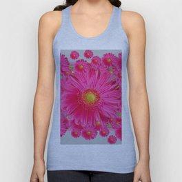 Pink Gerbera Flowers Grey Patterns Art #2 Unisex Tank Top