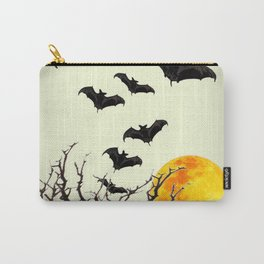 GOTHIC HALLOWEEN FULL MOON BLACK FLYING BATS DESIGN Carry-All Pouch